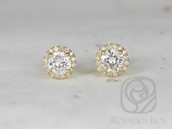 Rosados Box Ready to Ship Gemma 5mm 14kt Yellow Gold Round Forever One Moissanite Diamonds Halo Stud Earrings