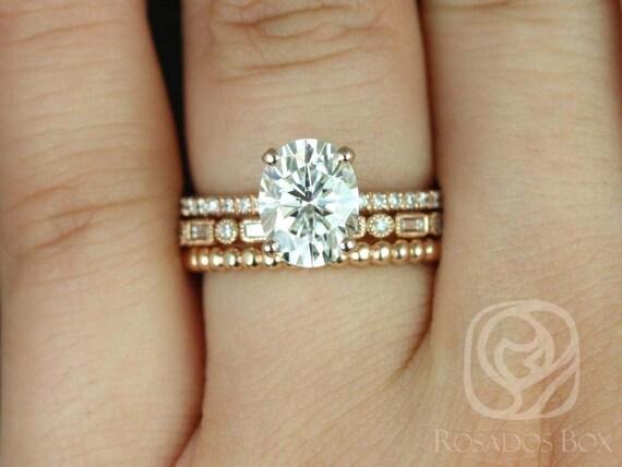 Rosados Box Hillary 9x7mm Ivanna & Buddha Beads 14kt Rose Gold Oval Forever One Moissanite Diamond Basket TRIO Wedding Set Rings