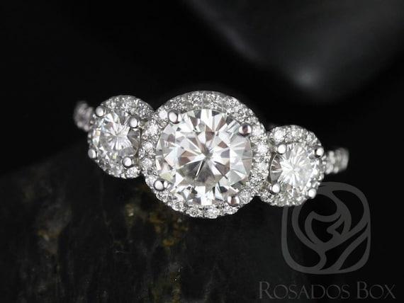 Rosados Box Dita 7mm 14kt White Gold Round Forever One Moissanite Diamonds Halo 3 Stone Engagement Ring