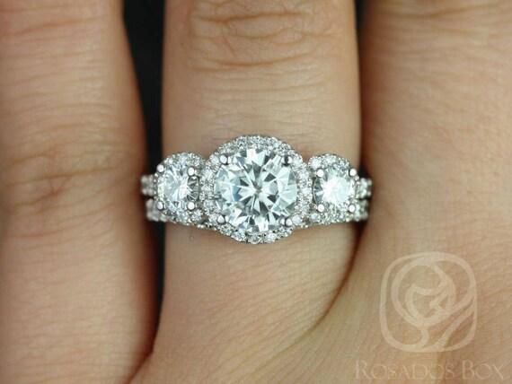 SALE Rosados Box Ready to Ship Dita 7mm 14kt White Gold Round FB Moissanite Diamond 3 Stone Halo Wedding Set Rings