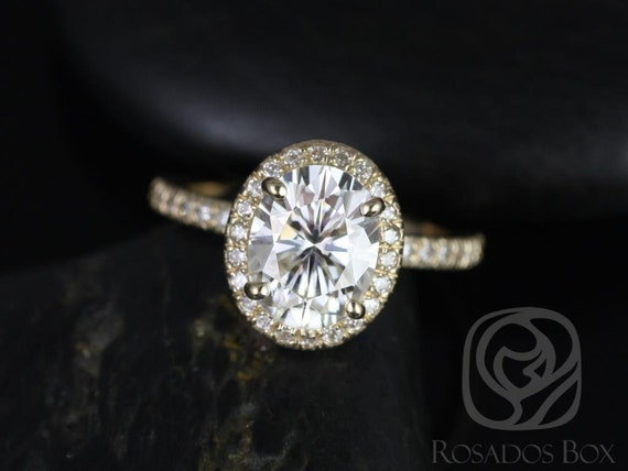 Rosados Box Chantelle 9x7mm 14kt Yellow Gold Oval F1- Moissanite and Diamond Halo Engagement Ring