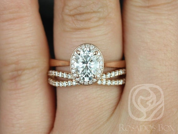 Rosados Box Swink 8x6mm & Skinny Lima 14kt Rose Gold Oval Forever One Moissanite Diamond Pave Halo Wedding Set Rings