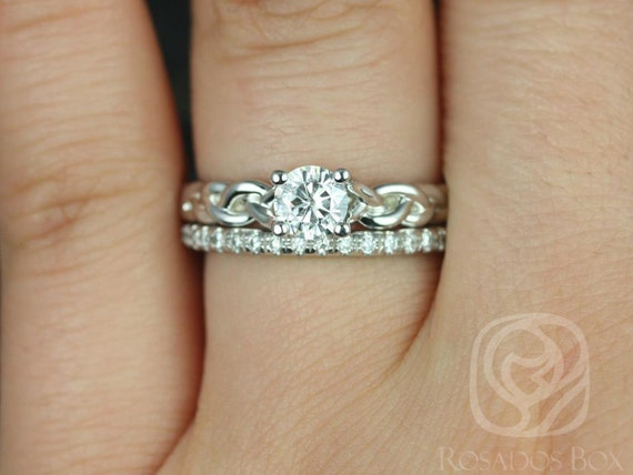 0.50ct Prudence 5mm & Callie 14kt White Gold Round Forever One Moissanite Diamond Braided Wedding Set Rings,Rosados Box