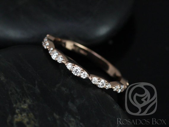 Rosados Box Penny 14kt Rose Gold Diamond Scalloped Shared Prong Leaves ALMOST Eternity Band