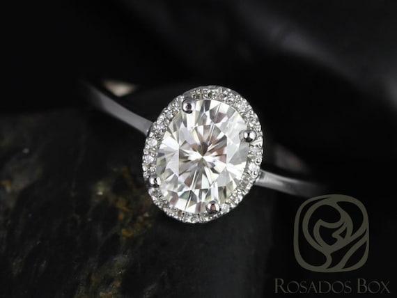 Rosados Box Celeste 8x6mm 14kt White Gold Oval F1- Moissanite and Diamonds Pave Halo Engagement Ring