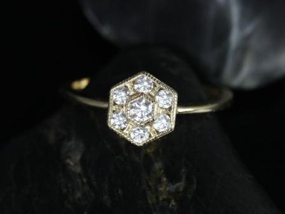 Art Deco Diamonds WITH Milgrain Hexagon Cluster Ring,14kt Solid Yellow Gold,Mosaic,Rosados Box