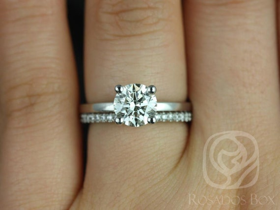 1.25ct Ella 7mm & Cara 14kt White Gold Forever One Moissanite Diamonds Dainty Round Solitaire Wedding Set Rings,Rosados Box