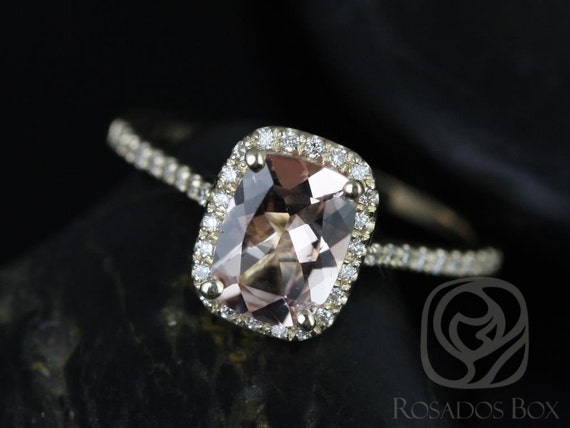 Rosados Box Carrie 8x6mm 14kt Yellow Gold Rectangle Cushion Halo Morganite and Diamond Engagement Ring