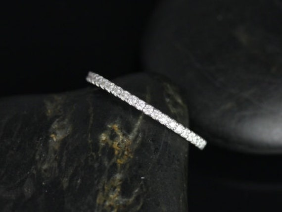 14kt Solid White Gold Dainty Micro Pave Diamonds Matching Band Kubian 7mm/ Samina 7mm ALMOST Eternity Ring,Rosados Box