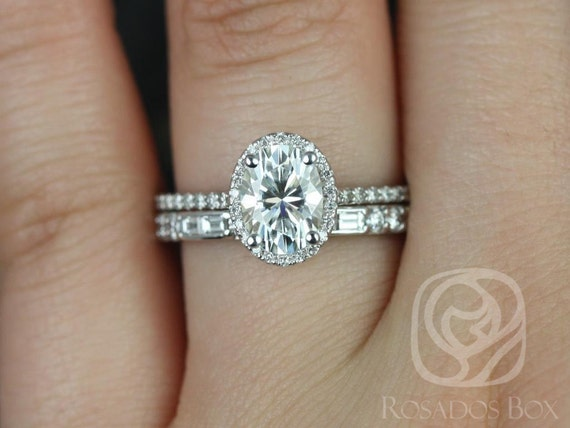 1.50cts Rebecca 8x6mm & Gabriella 14kt White Gold Forever One Moissanite Diamond Dainty Art Deco Oval Halo Wedding Set Rings,Rosados Box