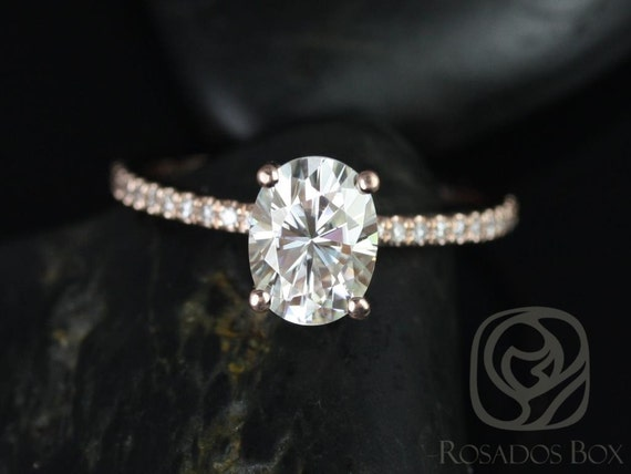Rosados Box Ready to Ship Darcy 8x6mm 14kt WHITE Gold Oval F1- Moissanite and Diamonds Classic Engagement Ring