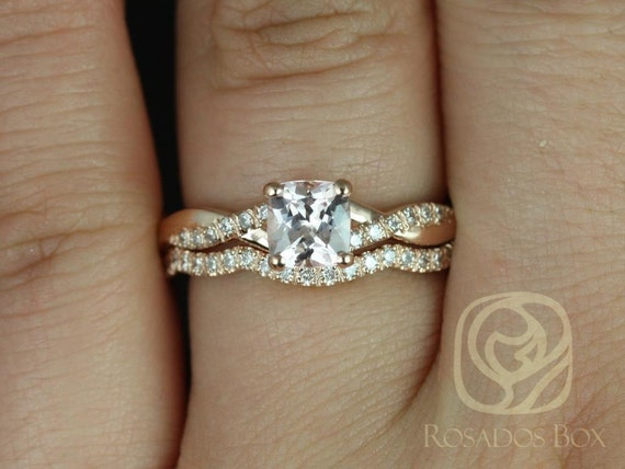 1.02cts Cushion Peach Champagne Sapphire Diamond Twisted Vine Wedding  Set Rings,14kt Rose Gold,Ready to Ship Tressa 1.02cts,Rosados Box