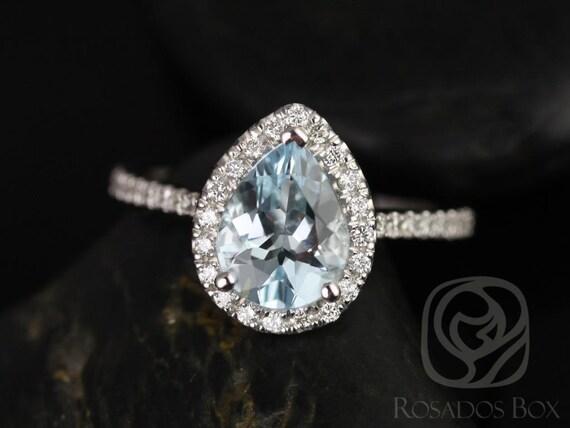 Tabitha 9x7mm 14kt White Gold Aquamarine Diamonds Dainty Pave Pear Halo Engagement Ring,Rosados Box