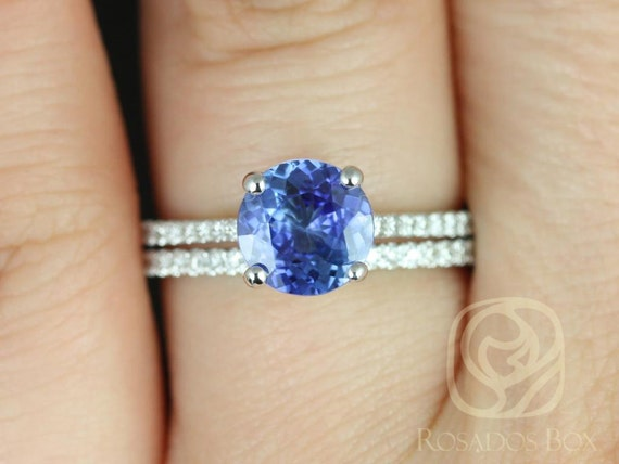 1.64ct Round Cornflower Blue Sapphire Diamonds Classic Wedding Set Rings,14kt White Gold,Ready to Ship Eloise 1.64cts,Rosados Box