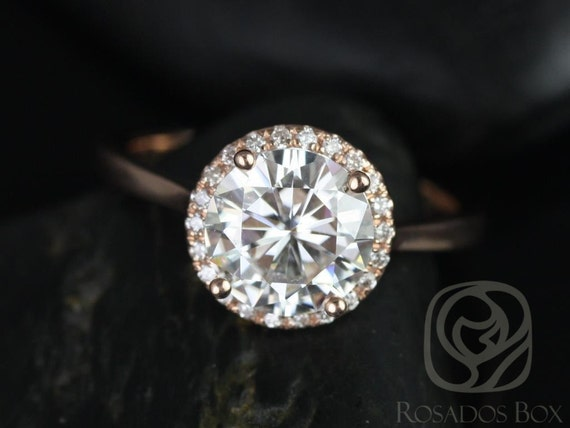 Rosados Box Shannon 8.50mm 14kt Rose Gold Round Forever One Moissanite Diamonds Extra Low Halo Engagement Ring