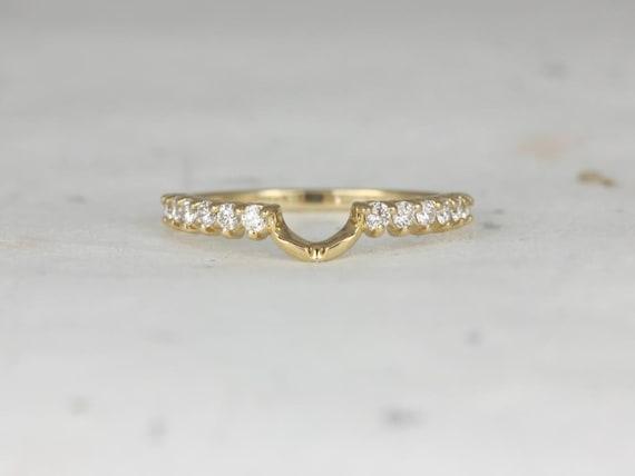 Diamonds Curved Matching Band to 8x6mm Jadis/Maris/Eluma/Electra HALFWAY Eternity Ring,14kt Solid Gold,Rosados Box