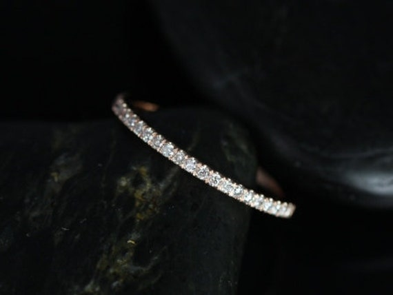 14kt Gold Dainty Micropave Diamond Band Matching Tabitha 7x5, 8x5, 9x6/Lisette/Carrie/Sasha/Kubian 8,9mm HALFWAY Eternity Ring,Rosados Box