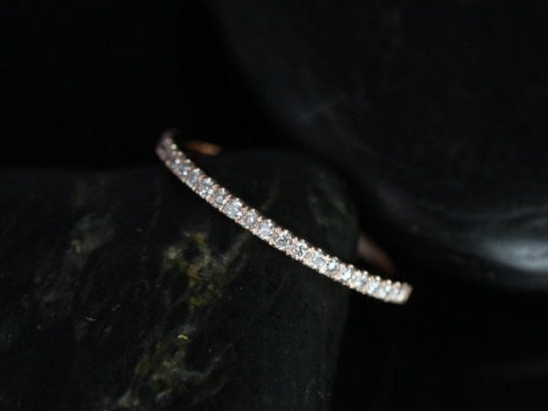 14kt Gold DIAMOND FREE White Sapphire Band Matching Tabitha image 0