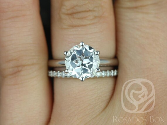 Webster 9mm & Callie 14kt White Gold White Topaz Dainty 6 Prong Round Solitaire Webbed Wedding Set Rings,Rosados Box