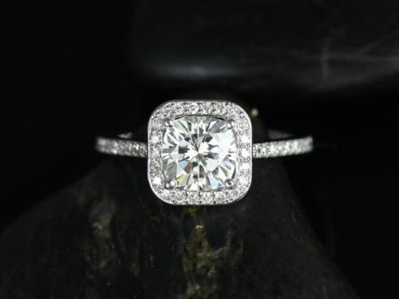 Rosados Box Camila 7mm 14kt White Gold Thin Forever One Moissanite Diamonds Cushion Halo Engagement Ring