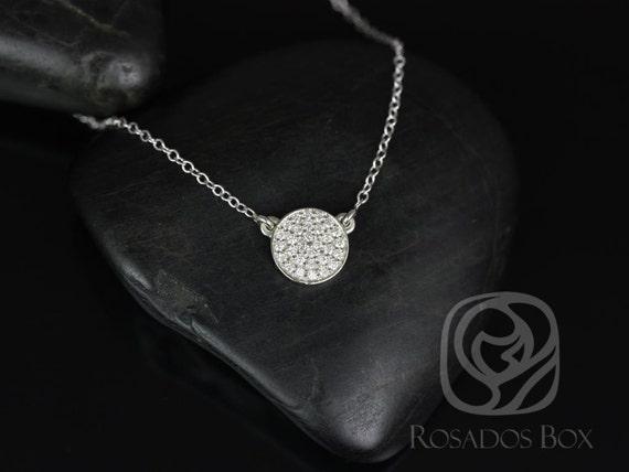 Rosados Box Diskco 7mm 14kt White Gold Diamond Pave Floating Disk Necklace