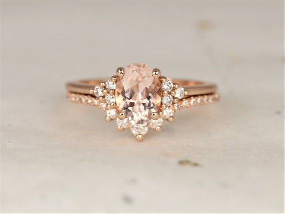 Juniper 8x6mm & Aldis 14kt Rose Gold Morganite Diamond Dainty Cluster Oval Unique Wedding Set Rings,Rosados Box