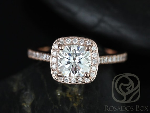 Rosados Box Hollie 6mm 14kt Rose Gold Cushion Forever One Moissanite Diamonds Halo Engagement Ring
