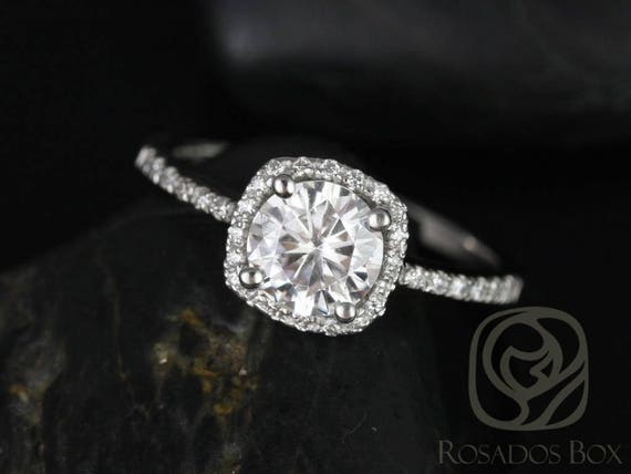 SALE Rosados Box Ready to Ship Barra 6mm Platinum Round FB Moissanite and Diamonds Cushion Halo Engagement Ring