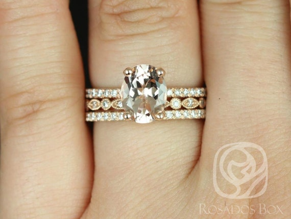 Rosados Box Hillary 9x7mm & Ultra Petite Bead Eye 14kt Rose Gold Oval Morganite Diamond Halo TRIO Wedding Set Rings
