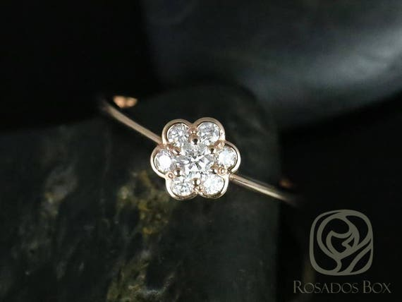 Rosados Box Daisy 14kt Rose Gold WITHOUT Milgrain Flower Diamond Cluster Ring
