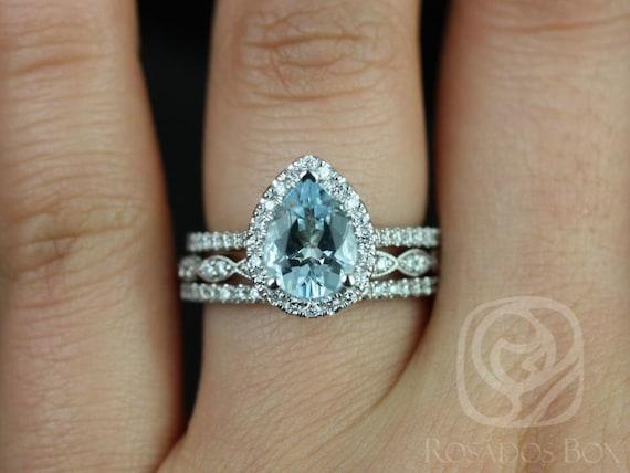 Tabitha 9x7mm & Christie 14kt White Gold Aquamarine Diamonds Dainty Vintage Pave Pear Halo TRIO Wedding Set Rings,Rosados Box