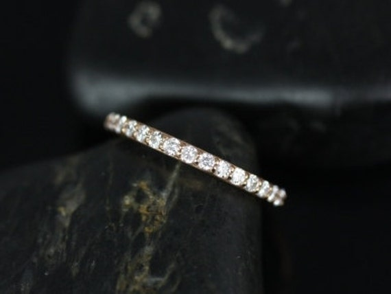 Thin Diamond Shared Prong Matching Band to Tiffani/Sarah HALFWAY Eternity Ring,14kt Solid Rose Gold,Rosados Box