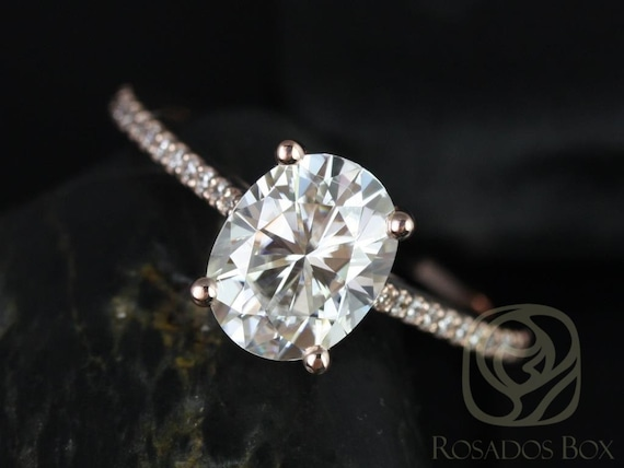 Rosados Box Ready to Ship Blake 9x7mm 14kt WHITE Gold Oval F1- Moissanite and Diamonds Cathedral Engagement Ring