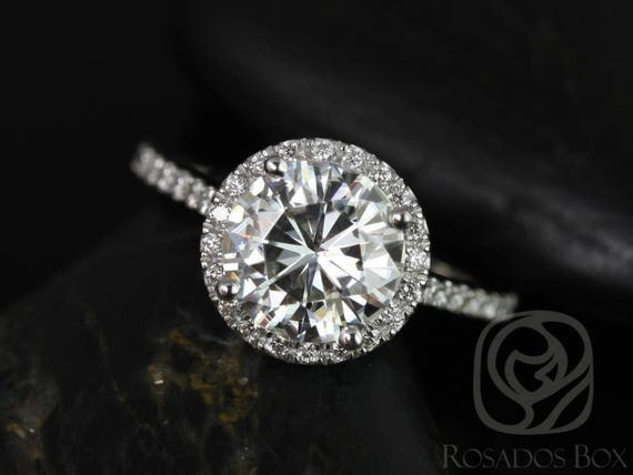 SALE Rosados Box Ready to Ship Kubian 8mm 14kt ROSE Gold Round FB Moissanite Diamonds Dainty Petite Halo Engagement Ring