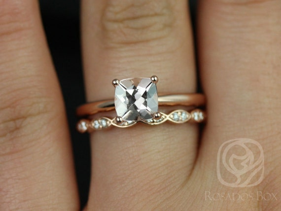 Rosados Box Albina 6mm 14kt Rose Gold Cushion Morganite DiamondTulip Solitaire Wedding Set Rings