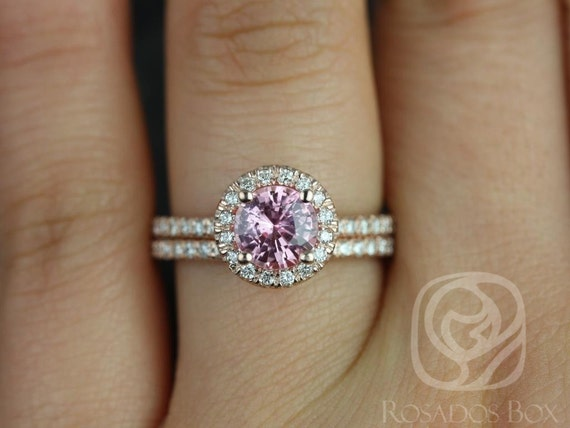1.31ct Round Rosy Padparadscha Sapphire Diamonds Micropave Halo Wedding Set Rings,14kt Rose Gold,Ready to Ship Callie 1.31cts,Rosados Box