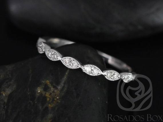 Rosados Box Leah 14kt  White Gold Extra Low Profile WITH Milgrain Double Diamond Leaves HALFWAY Eternity Band