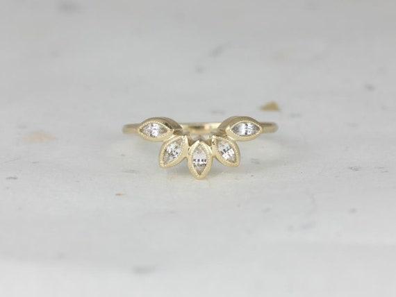 Rosados Box DIAMOND FREE Petunia 14kt Yellow Gold Matching Band to Isla 7x5mm White Sapphire WITH Milgrain Ring