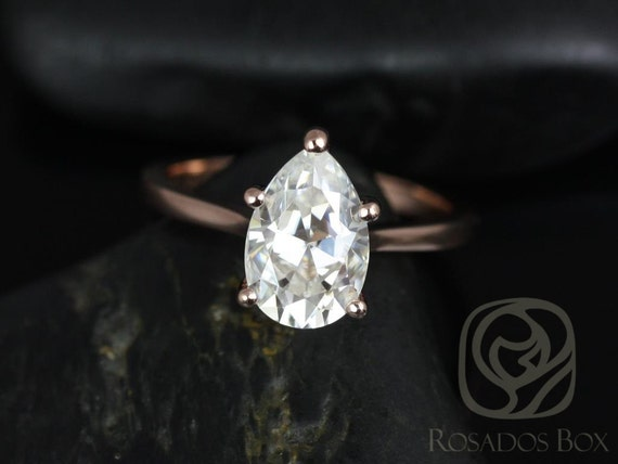 Rosados Box Skinny Jane 10x7mm 14kt Rose Gold Pear F1- Moissanite Tulip Cathedral Solitaire Engagement Ring