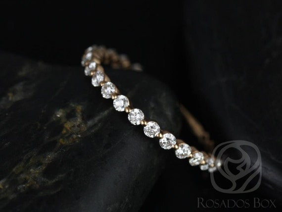 Diamond Single Prong Floating ALMOST Eternity Band Ring,14kt Solid Rose Gold,Petite Naomi/Petite Bubble & Breathe,Rosados Box