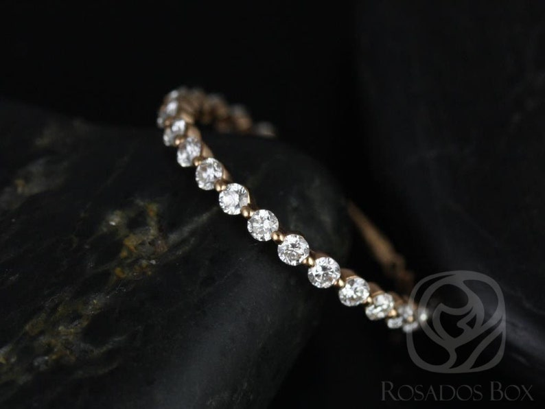 4e39756ff Diamond Single Prong Floating ALMOST Eternity Band Ring14kt