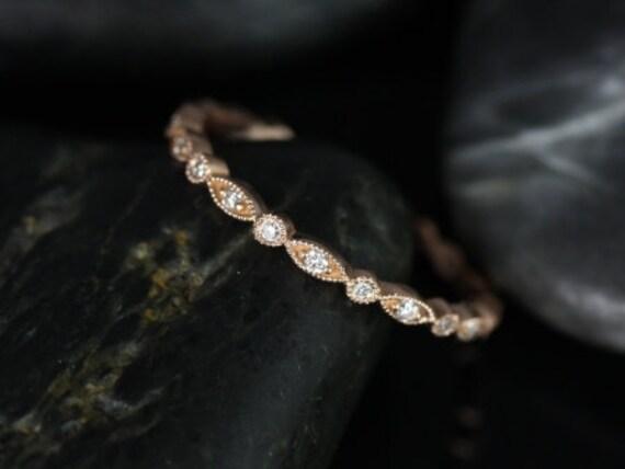 Ultra Petite Bead & Eye/Gwen 14kt Rose Gold Diamond Thin Art Deco WITH Milgrain FULL Eternity Band Ring,Rosados Box