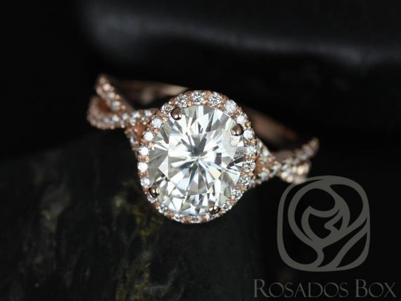 Rosados Box Thelma 10x8mm 14kt Rose Gold Oval Forever One Moissanite Diamond Twisted Halo Engagement Ring
