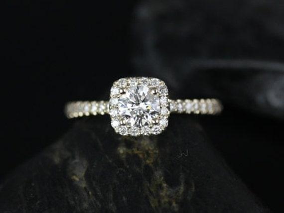 Rosados Box Mikena 1/2ct 14kt Yellow Gold Cushion Halo Diamond Engagement Ring