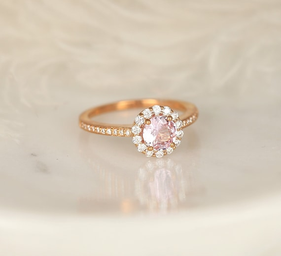 0.80ct Ready to Ship Marisol 14kt Rose Gold Blush Sapphire and Diamond Art Deco Open Gallery Round Halo Engagement Ring,Rosados Box