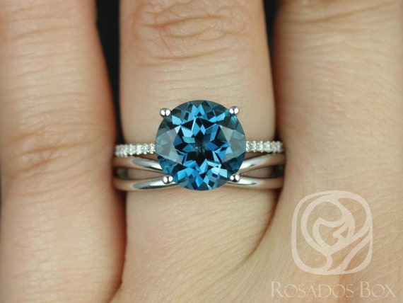 Eloise 10mm & PLAIN Skinny Lima 14kt White Gold London Blue Topaz Diamonds Thin Infinity Round Wedding Set Rings,Rosados Box