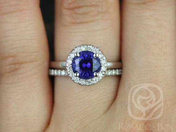 Rosados Box Katie 7mm & 8/9mm Kubian Band 14kt White Gold Round Blue Sapphire Diamond Halo Wedding Set Rings