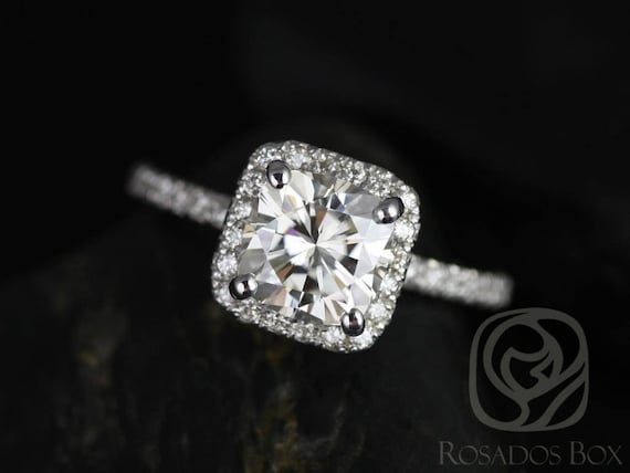 SALE Rosados Box Ready to Ship Pernella 7mm 14kt White Gold Cushion FB Moissanite Diamonds Dainty Pave Halo Non-Cathedral Engagement Ring