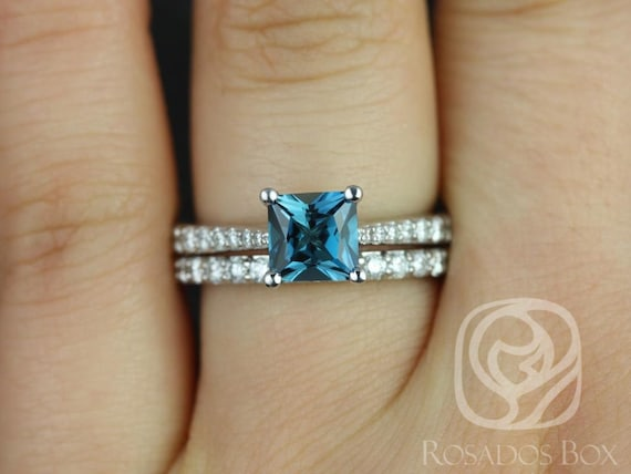 Rosados Box Taylor 6mm 14kt White Gold Princess London Topaz and Diamond Cathedral Classic Wedding Set