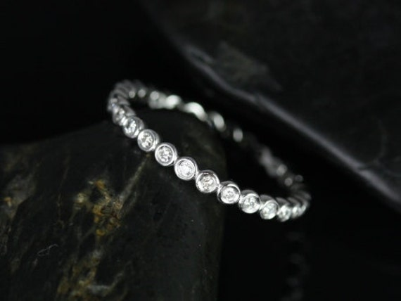 Petite Bubbles 14kt White Gold Diamond Bezel WITHOUT Milgrain FULL Eternity Band Dainty Ring,Rosados Box